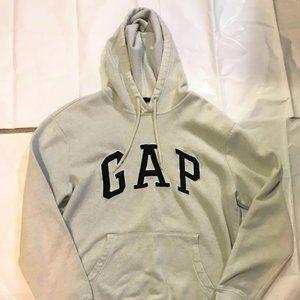 Men Medium White Gap Hoodie Black Logo Cotton/Poly